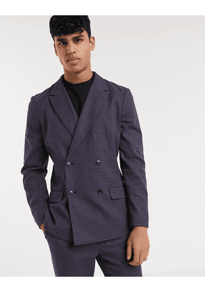 ASOS DESIGN co-ord soft tailored slim double breasted blazer in navy check-Blue