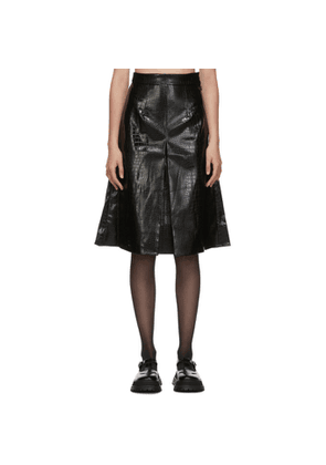 Shushu/Tong Black Faux-Leather Croc Single Pleat Skirt
