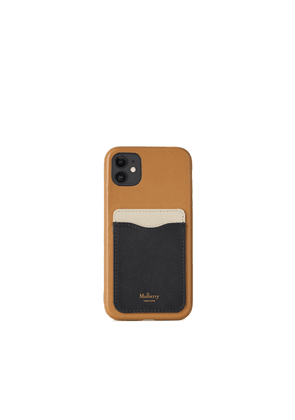 Mulberry iPhone 11 Case With Credit Card Slip - Chalk-Black-Sable