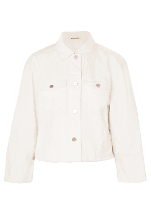 Elizabeth And James Branson Cropped Denim Jacket Woman White Size L