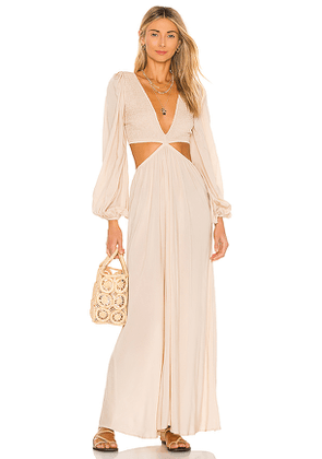 Indah Julie Solid Ruched Bodice Cutaway Maxi Dress in Beige. Size XS.