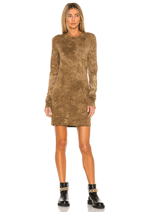 COTTON CITIZEN The Tokyo Long Sleeve Mini Dress in Brown. Size S, XS.