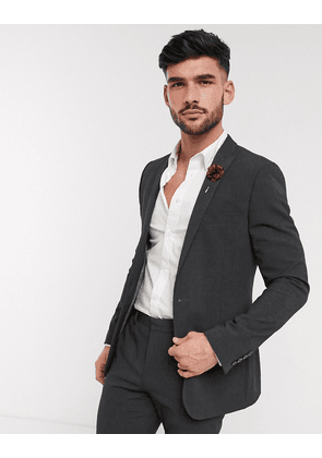 ASOS DESIGN wedding skinny suit jacket in charcoal four way stretch-Grey