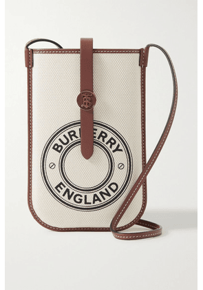 Burberry - Leather-trimmed Printed Canvas Phone Case - Ecru