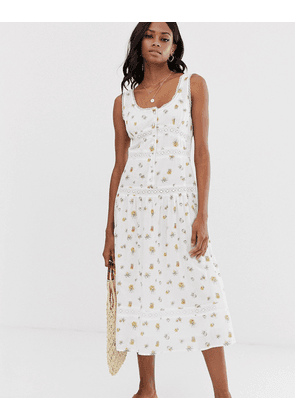 ASOS DESIGN sleeveless lace insert midi dress with dropped waist in floral print-Multi