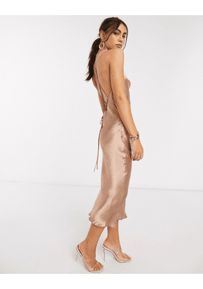 ASOS DESIGN cami midi slip dress in high shine satin with lace up back-Pink