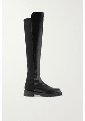 Stuart Weitzman - 5050 Lift Leather And Neoprene Over-the-knee Boots - Black