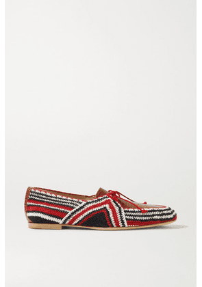 Gabriela Hearst - Hays Crocheted Cotton And Croc-effect Leather Loafers - Red