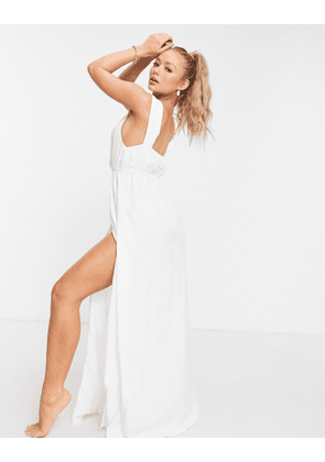 ASOS DESIGN recycled knot strap maxi beach dress in white