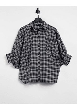 ASOS DESIGN oversized shirt with 3/4 volume sleeves in mono check-Multi