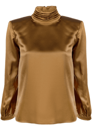 Saint Laurent roll-neck silk blouse - Brown