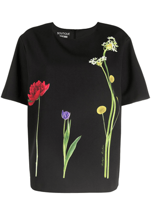 Boutique Moschino floral-print T-shirt - Black