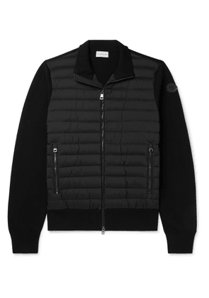 MONCLER - Panelled Cotton-Blend and Quilted Shell Down Zip-Up Cardigan - Men - Black