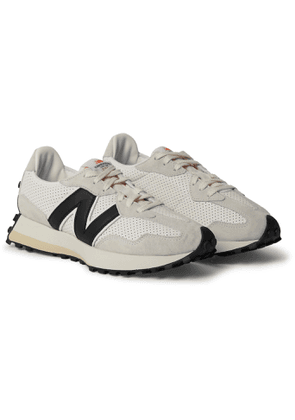 NEW BALANCE - Casablanca 327 Suede-Trimmed Perforated Leather Sneakers - Men - White