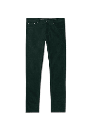 Isaia - Skinny-Fit Cotton-Blend Corduroy Trousers - Men - Green