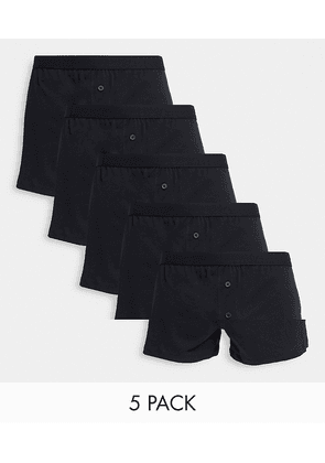 ASOS DESIGN 5 pack jersey boxers in black