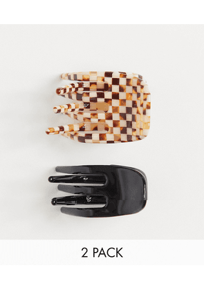 ASOS DESIGN pack of 2 hair claws in checkerboard design-Multi