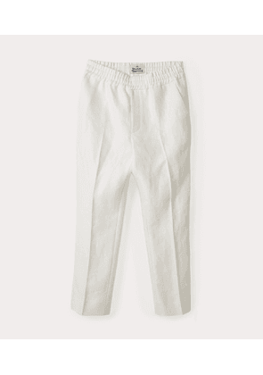 Elasticated Cropped George Trousers White
