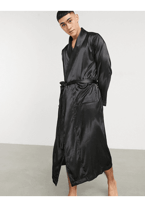 ASOS DESIGN co-ord dressing gown in black satin