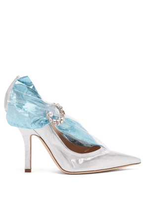 Midnight 00 - Crystal-embellished Lamé & Pvc Pumps - Womens - Silver Multi