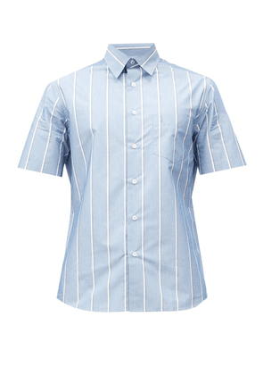Dunhill - Striped Cotton-blend Poplin Shirt - Mens - Blue