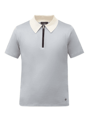 Dunhill - Zip-neck Cotton-jersey Polo Shirt - Mens - Light Blue