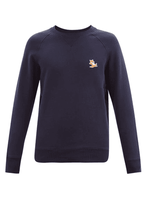 Maison Kitsuné - Chillax Fox-patch Cotton-jersey Sweatshirt - Mens - Navy