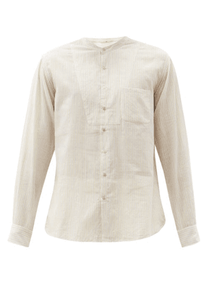 Péro - Pinstripe Cotton Shirt - Mens - Cream