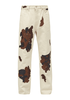 Our Legacy - Painted Cotton-twill Straight-leg Trousers - Mens - Ivory Multi
