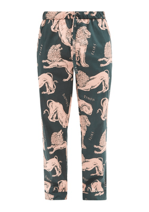 Desmond & Dempsey - Circe Lion-print Cotton Pyjama Trousers - Mens - Pink Multi