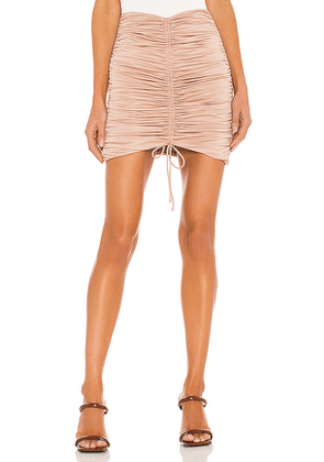 Michael Costello x REVOLVE Quinn Mini Skirt in Taupe. Size M, S, XL, XS, XXS.