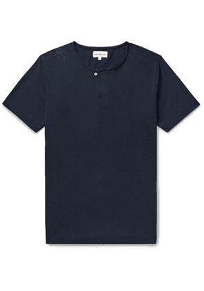 Hamilton and Hare - Stretch-Lyocell and Cotton-Blend Henley Pyjama T-Shirt - Men - Blue