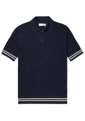 Brunello Cucinelli - Slim-Fit Ribbed Striped Linen and Cotton-Blend Polo Shirt - Men - Blue