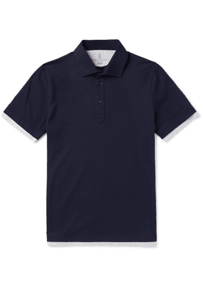 Brunello Cucinelli - Slim-Fit Layered Cotton-Jersey Polo Shirt - Men - Blue