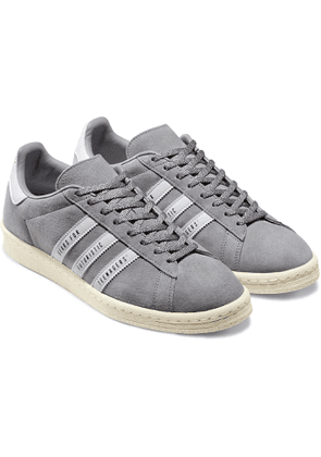 adidas Consortium - Human Made Campus Leather-Trimmed Suede Sneakers - Men - Gray