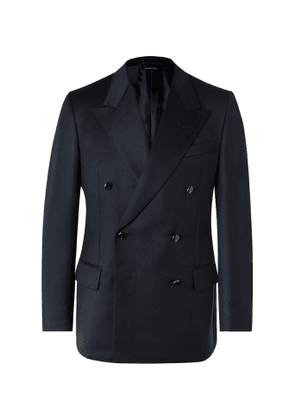 DUNHILL - Slim-Fit Double-Breasted Wool Blazer - Men - Blue