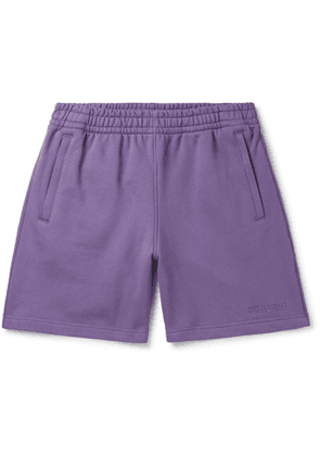 adidas Consortium - Pharrell Williams Basics Logo-Embroidered Loopback Cotton-Jersey Shorts - Men - Purple
