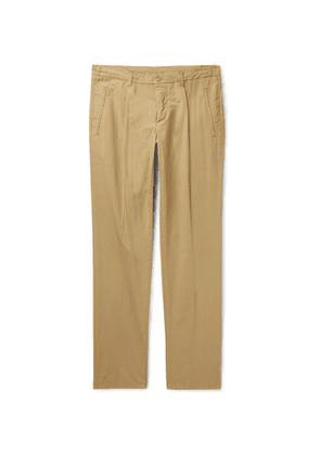 Altea - Tapered Pleated Stretch-Cotton Trousers - Men - Brown
