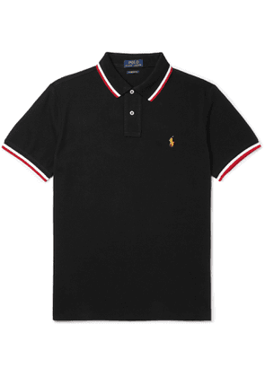 POLO RALPH LAUREN - Slim-Fit Logo-Embroidered Contrast-Tipped Cotton-Piqué Polo Shirt - Men - Black