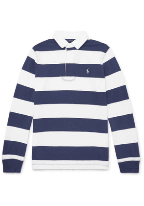 POLO RALPH LAUREN - Logo-Embroidered Striped Cotton-Jersey Polo Shirt - Men - Blue