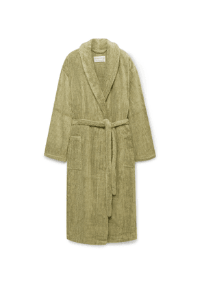 Cleverly Laundry - Striped Cotton-Terry Robe - Men - Green
