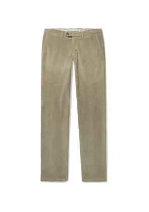 CANALI - Slim-Fit Stretch Cotton and Modal-Blend Corduroy Trousers - Men - Brown