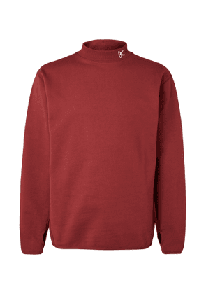 DISTRICT VISION - Logo-Embroidered Loopback Cotton-Jersey Mock-Neck Sweatshirt - Men - Burgundy
