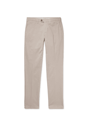 CANALI - Slim-Fit Stretch-Cotton Twill Chinos - Men - Gray