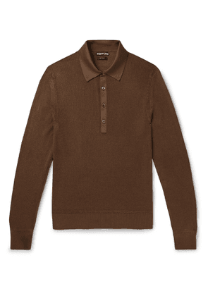 TOM FORD - Slim-Fit Satin-Trimmed Ribbed Silk-Blend Polo Shirt - Men - Brown