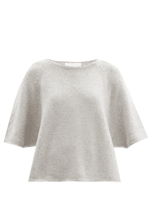 Allude - Cropped-sleeve Cashmere Sweater - Womens - Light Grey