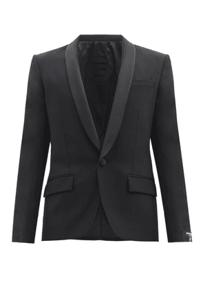 Balmain - Satin Shawl-lapel Wool-blend Jacket - Mens - Black