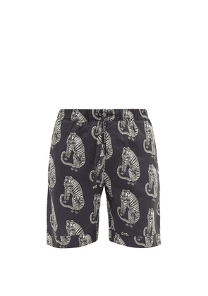 Desmond & Dempsey - Sansindo Tiger-print Cotton Pyjama Shorts - Mens - Black Multi