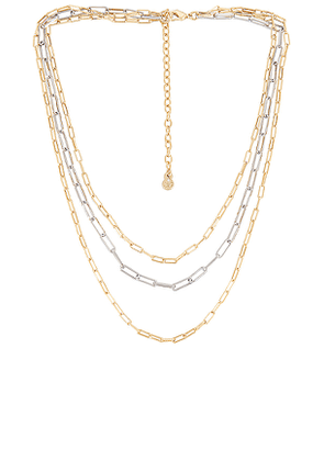 BaubleBar Aria Necklace Set in Metallic Gold.