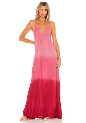 Tiare Hawaii Gracie Maxi Dress in Pink,White. Size S/M.